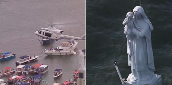 El Papa Francisco bendice a la Virgen de la Bahía que fue destruida por un rayo