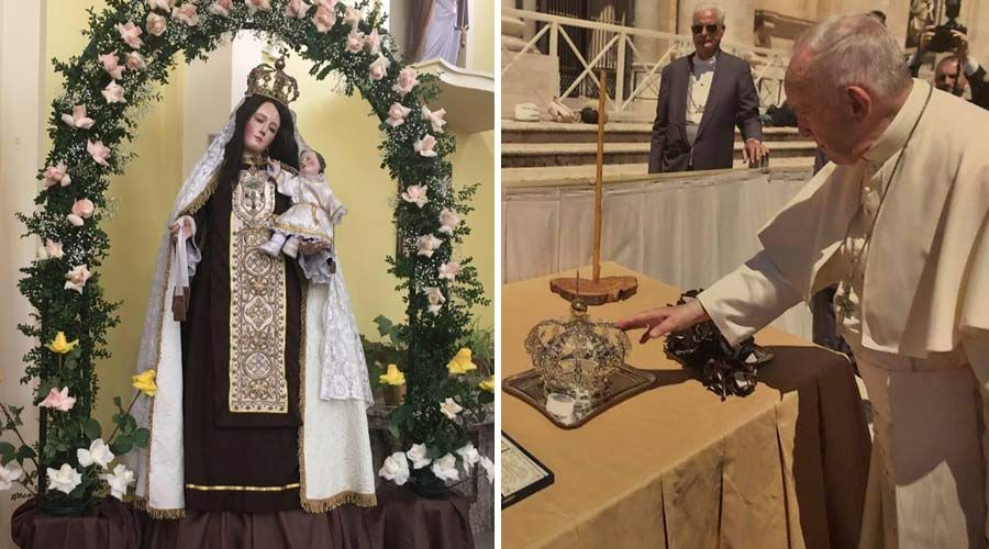 Papa Francisco bendice corona de la Virgen del Carmen